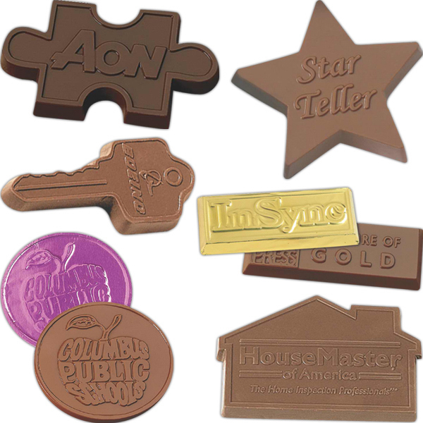 Imprinted Wrapped custom chocolate shape 1 oz