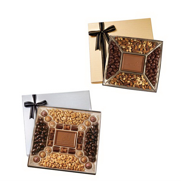 Imprinted Small custom molded chocolate & nuts delights gift box