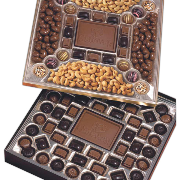 Imprinted Double Layered Cocolate & Nuts Confections Gift Box