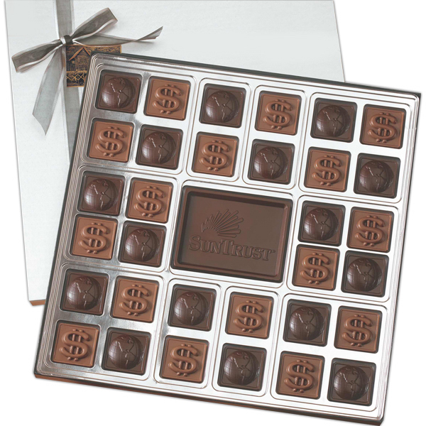 Customized Custom Molded 32 Piece Chocolate Squares Gift Box