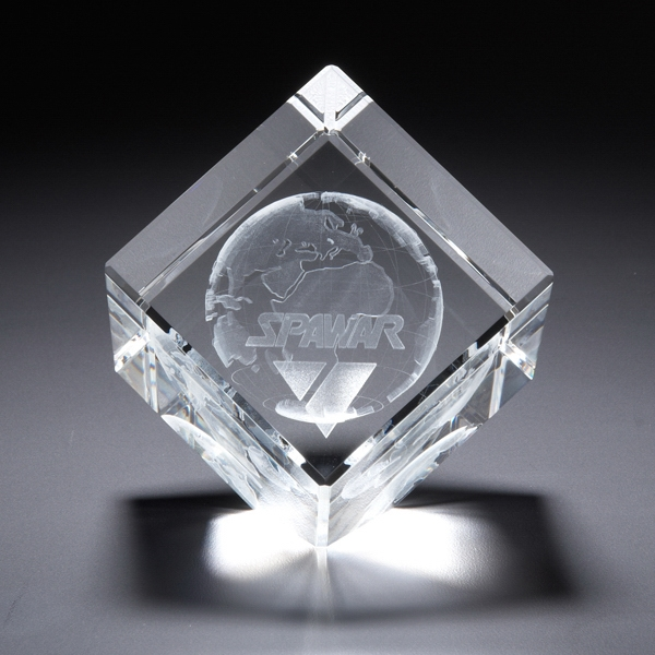 Promotional 3D Crystal Jewel Cube Large Award