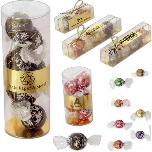 Customized 3 Lindt of Switzerland Lindor Balls in Clear Box