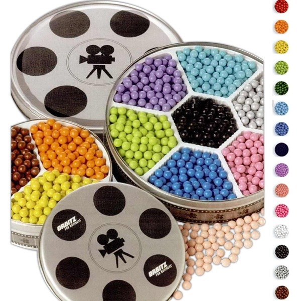 Promotional Seven Color Sixlets in Large Movie Reel Tin