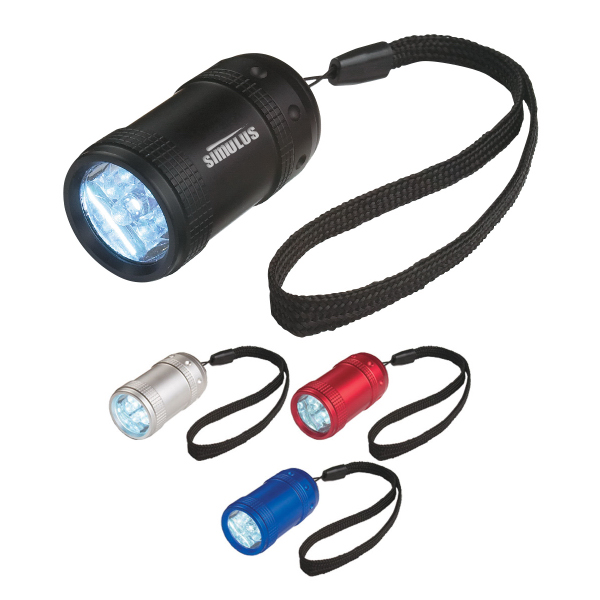 Imprinted Small Aluminum Stubby LED Flashlight With Strap
