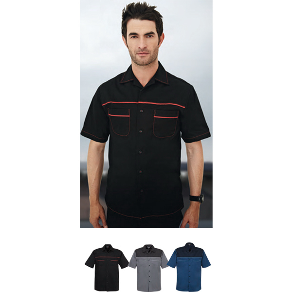 Customized Circuit Short Sleeve Twill Camp Shirt