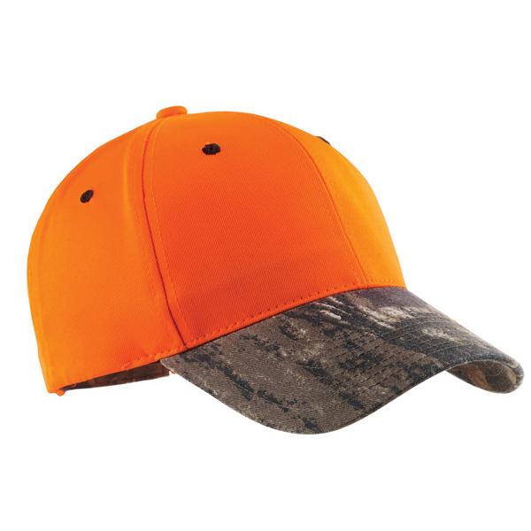 Imprinted Port Authority® safety cap with camo brim