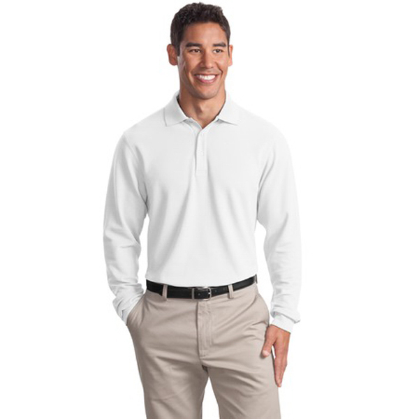 Printed Port Authority® long sleeve EZCotton pique sport shirt