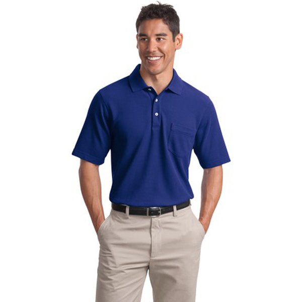 Customized Port Authority® EZCotton pique pocket polo shirt