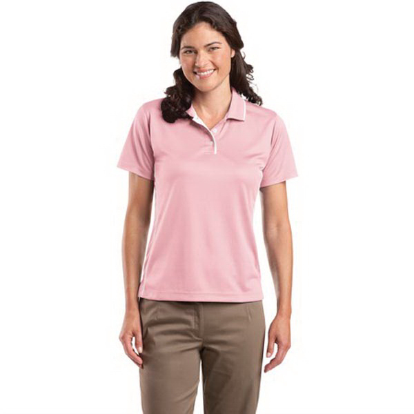 Imprinted Sport-Tek® Ladies' Dri-Mesh® polo with tipped collar