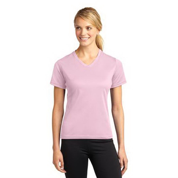 Custom Port Authority® Sport-tek® Dri-Mesh® ladies v-neck t-shirt