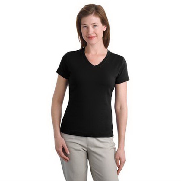 Customized Port Authority® ladies modern stretch cotton v-neck shirt