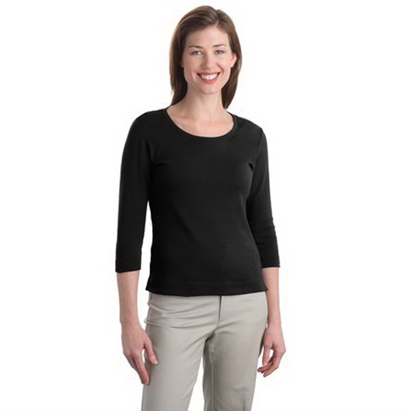 Custom Port Authority® ladies' cotton 3/4-sleeve scoop neck shirt