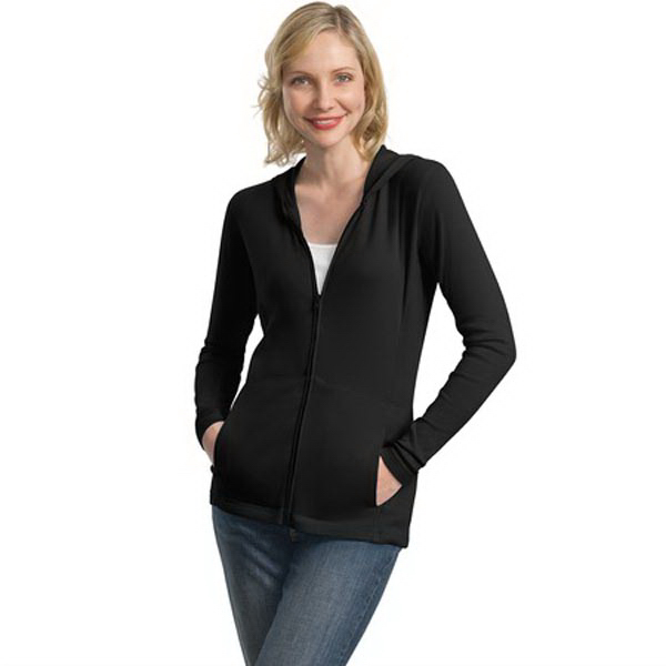 Printed Port Authority® ladies modern stretch cotton full-zip jacket