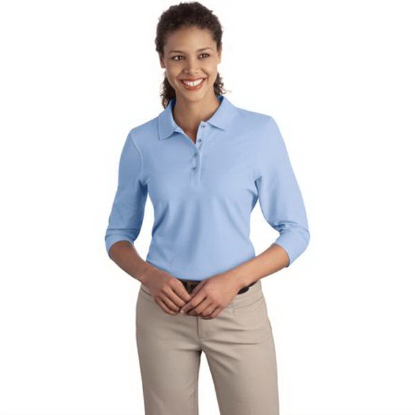 Custom Port Authority® Ladies' Silk Touch 3/4-sleeve polo