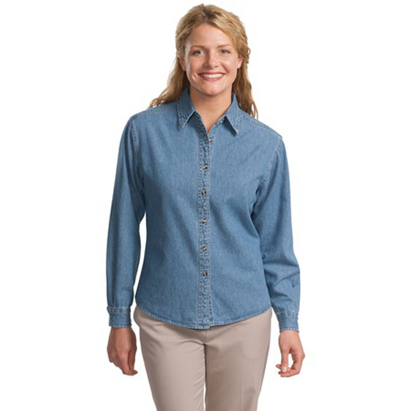Promotional Port Authority® Ladies long sleeve denim shirt