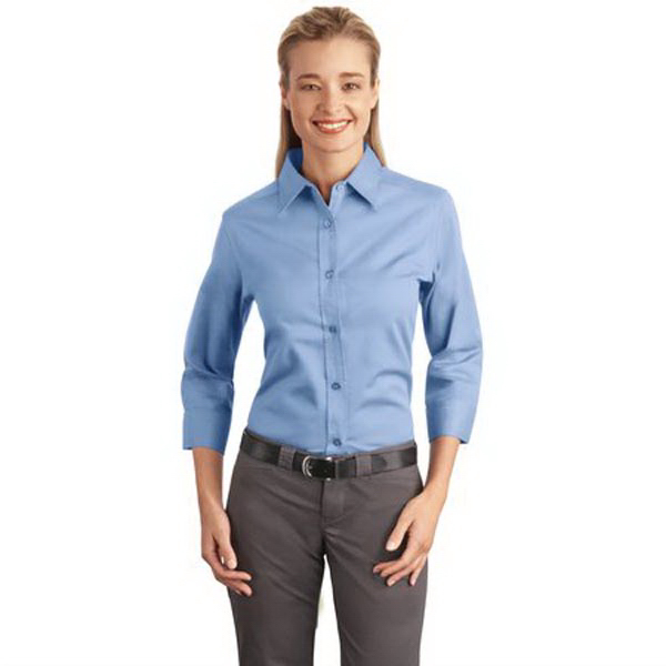 Imprinted Port Authority® Ladies' 3/4-sleeve easy care shirt