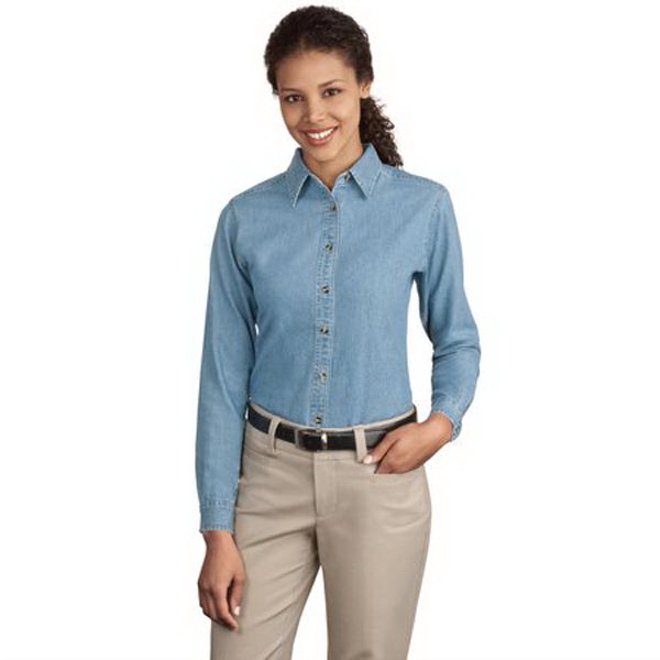 Promotional Port Authority® Ladies' long sleeve value denim shirt