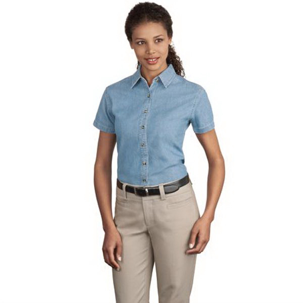 Imprinted Port Authority® Ladies' short sleeve value denim shirt