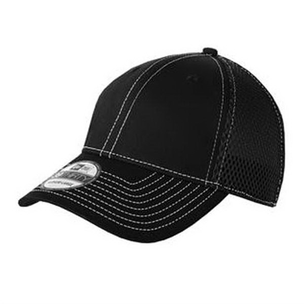 Imprinted New Era® stretch mesh contrast stitch cap