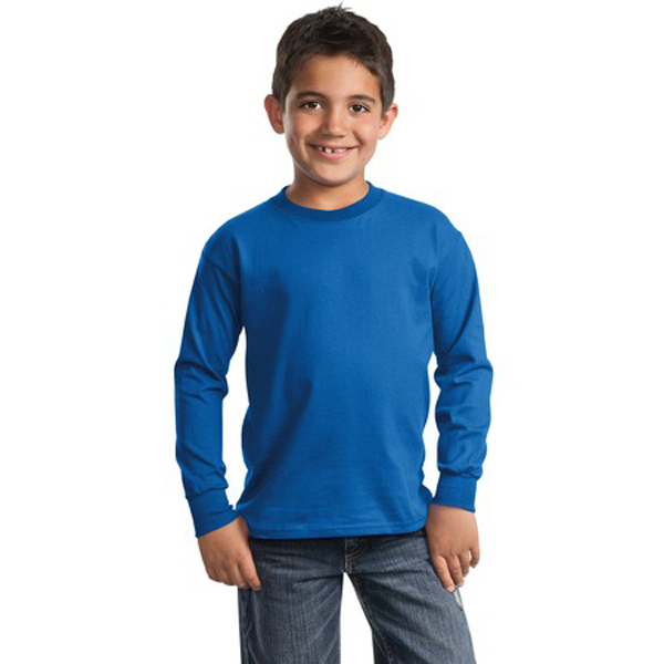 Personalized Port & Company® youth long sleeve essential t-shirt
