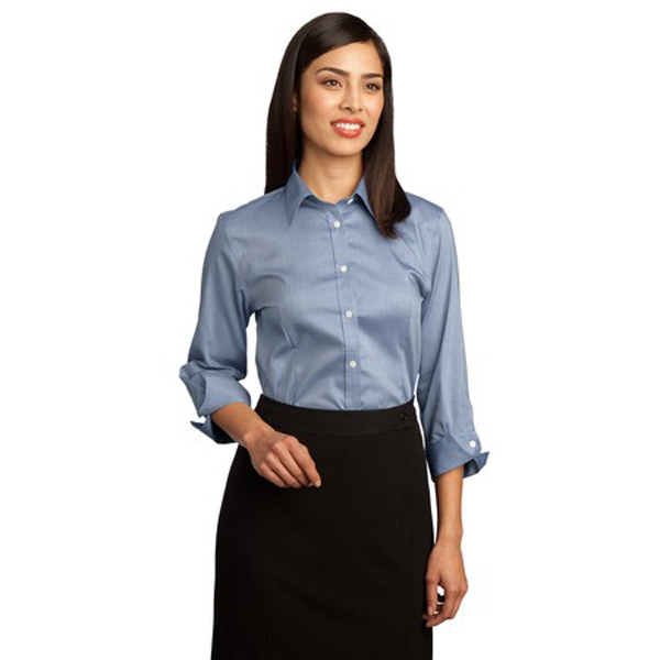 Promotional Red House® Ladies 3/4-sleeve non-iron pinpoint oxford