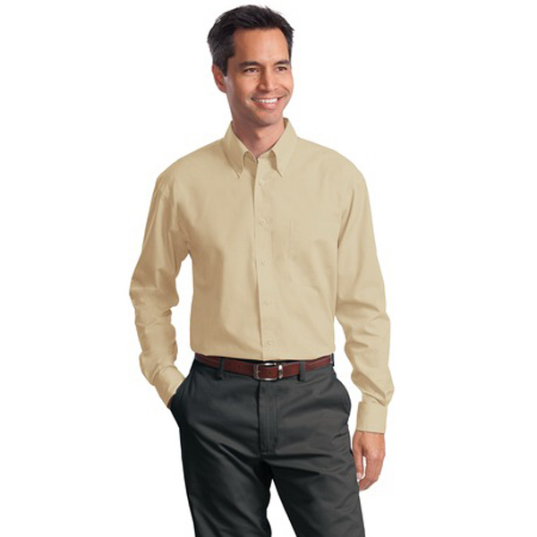 Imprinted Port Authority® long sleeve value poplin shirt