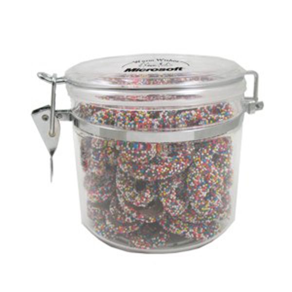 Customized Small Acrylic Snack Container / Sprinkled Pretzels