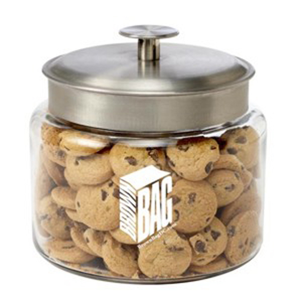 Customized Glass Cookie Jar / Mini Chocolate Chip Cookies