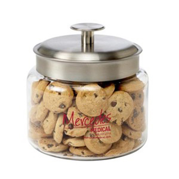 Imprinted Glass Cookie Jar / Mini Chocolate Chip Cookies