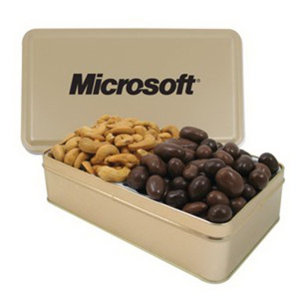 Imprinted Large 2 Way Rectangle Tin/Chocolate Covered Almonds/Cashews