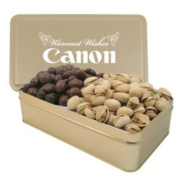 Imprinted 2 Way Rectangle Tin/Chocolate Covered Almonds/Pistachios