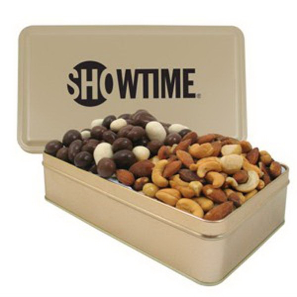 Personalized Large 2 Way Rectangle Tin / Bridge Mix & Mixed Nuts