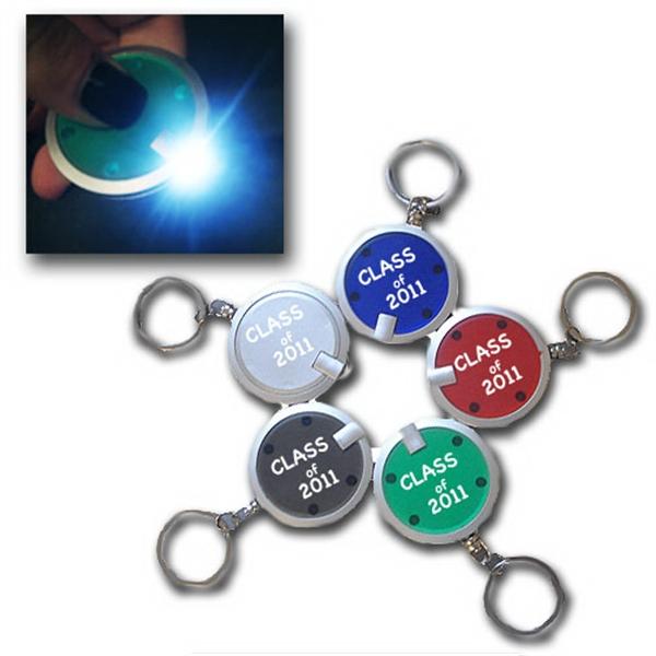 "Customized 1.5"" premium round LED key chain"