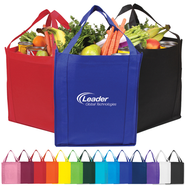 Imprinted Saturn Jumbo Nonwoven Grocery Tote