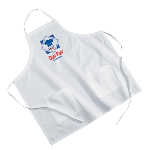 Custom White Poly/Cotton Twill BBQ Apron