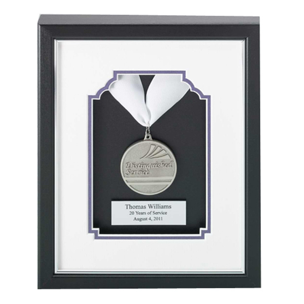 Printed Silver Die Struck Framed Medallion Award