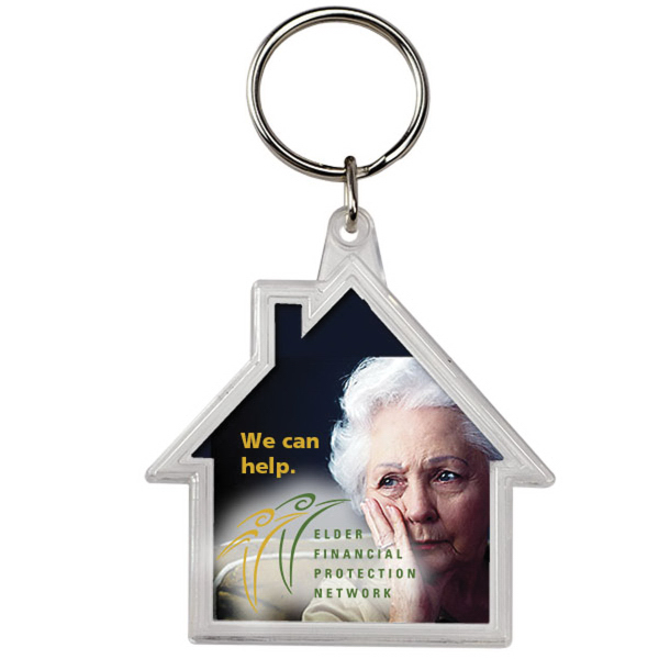 Imprinted House Crystal Keytag