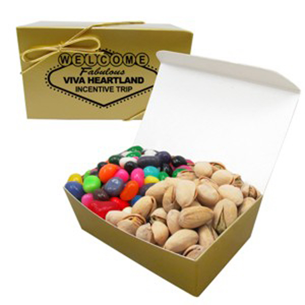 Printed 2 Way Treasure Chest / Gourmet Jelly Beans & Pistachio Nuts