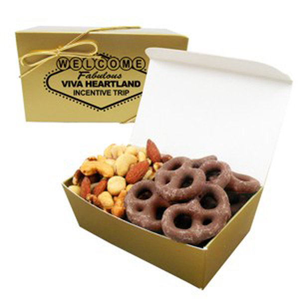 Promotional 2 Way Treasure Chest / Mixed Nuts & Chocolate Pretzels
