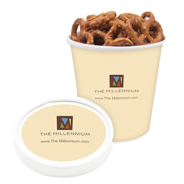 Promotional Pint Size Snack Tub / Mini Pretzels