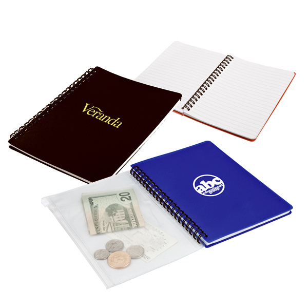 Imprinted Spiral Notepad with Zip Pouch  -  6022