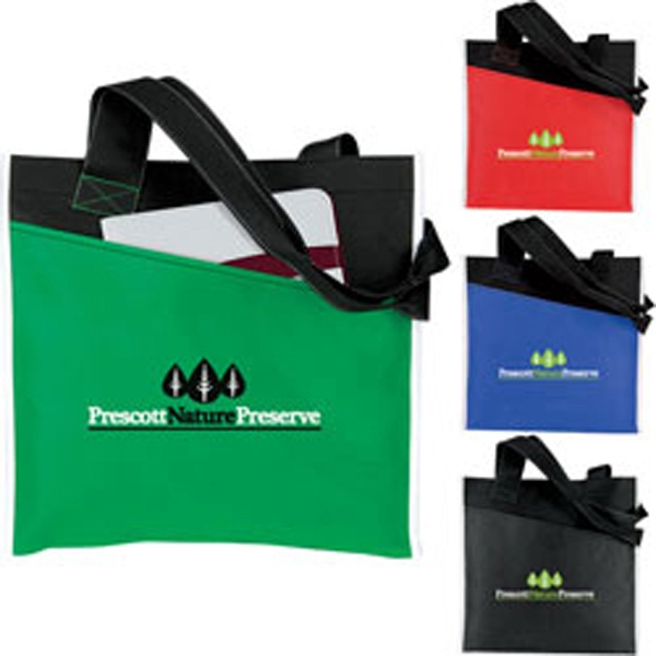 Personalized Angled Pocket Non Woven Tote