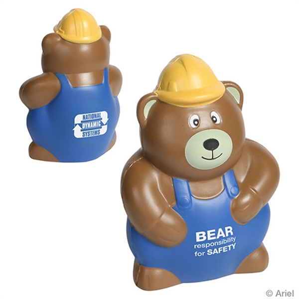 Imprinted Construction Worker Bear Stress Reliever