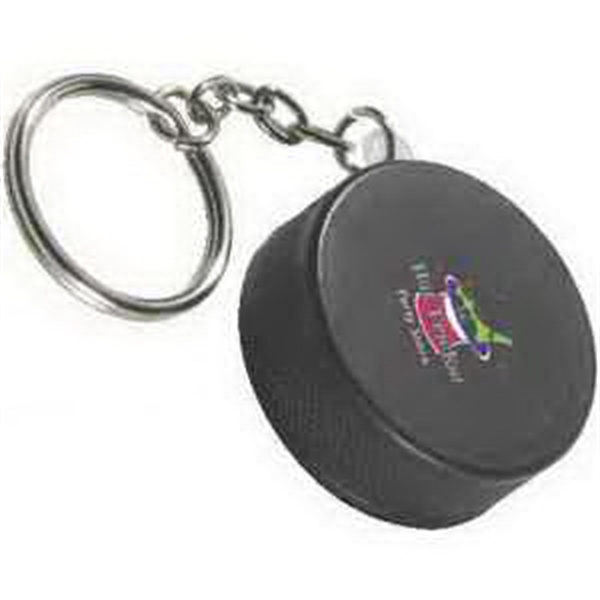 Printed Hockey Puck Key Chain Stress Reliever