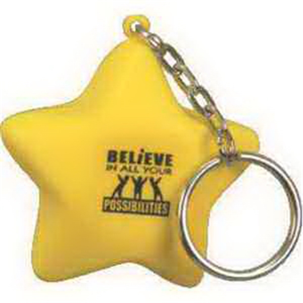 Imprinted Star Key Chain Stress reliever