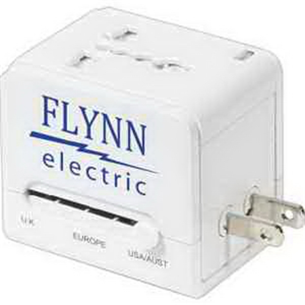 Custom Travel Cube Power Adapter With USB Charge