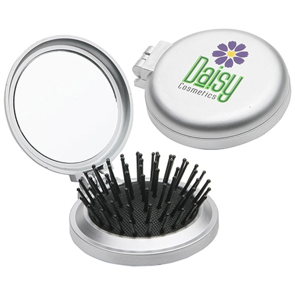 Personalized Travel Disk Brush & Mirror