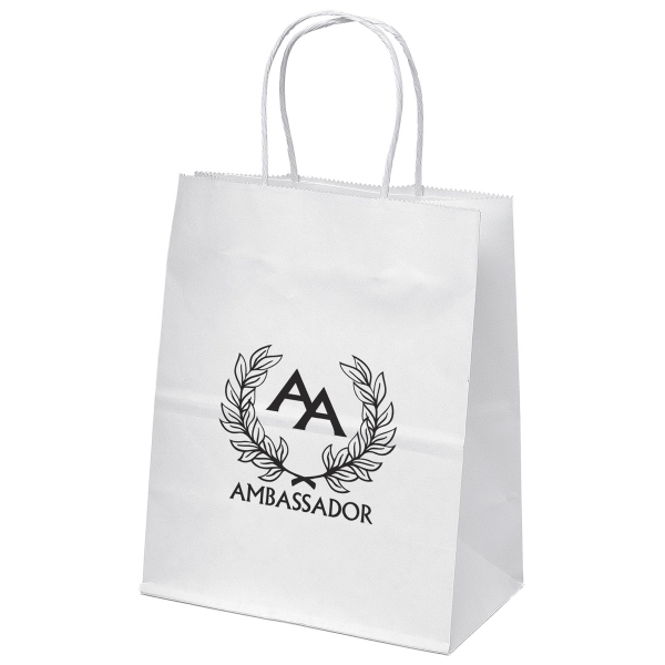 Customized Mini Shopper White Kraft Paper Bag