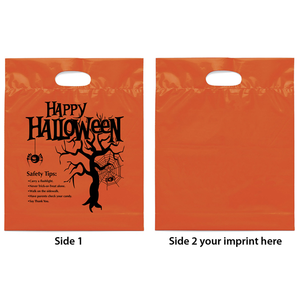 Custom Happy Halloween Orange Die Cut Handle Plastic Bag