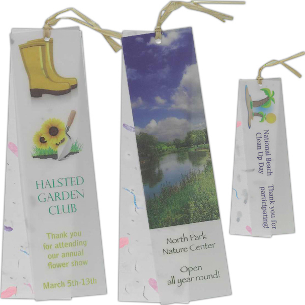 Personalized Vellum Seeded Petal Paper Bookmark